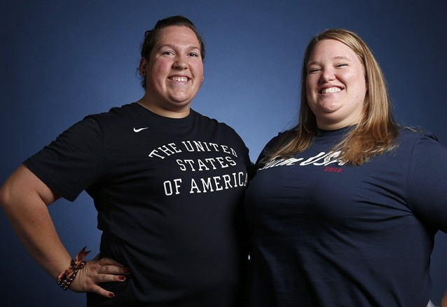 Holley Mangold (R) and Sarah Robles (L) will compete in the women's super heavyweight (+75kg/+165 Ibs.) division at the 2012 London Olympics.