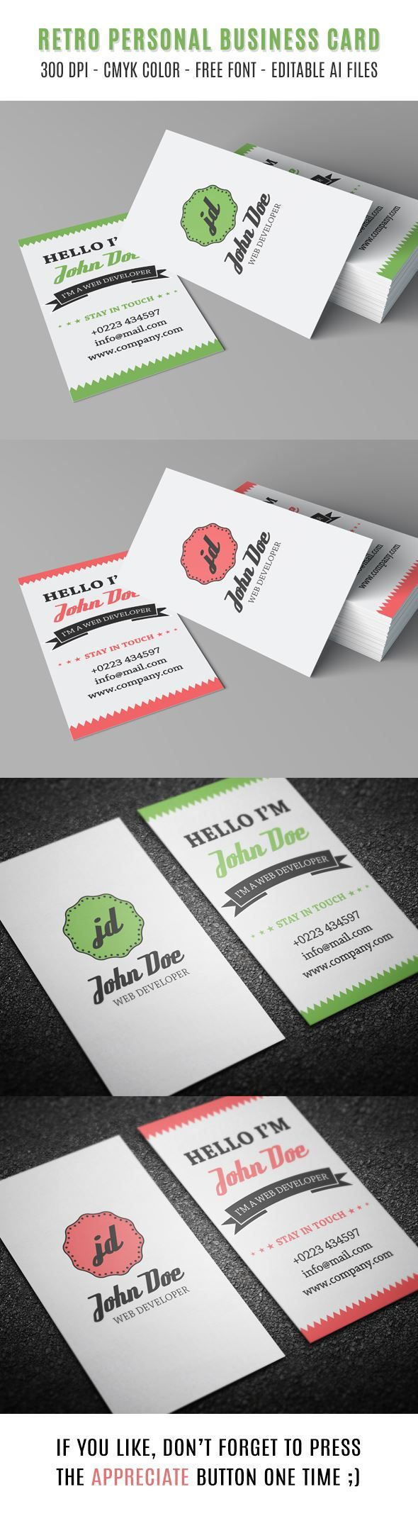 Retro Personal Business Card :: [20 Free Printable Templates for Business Cards]