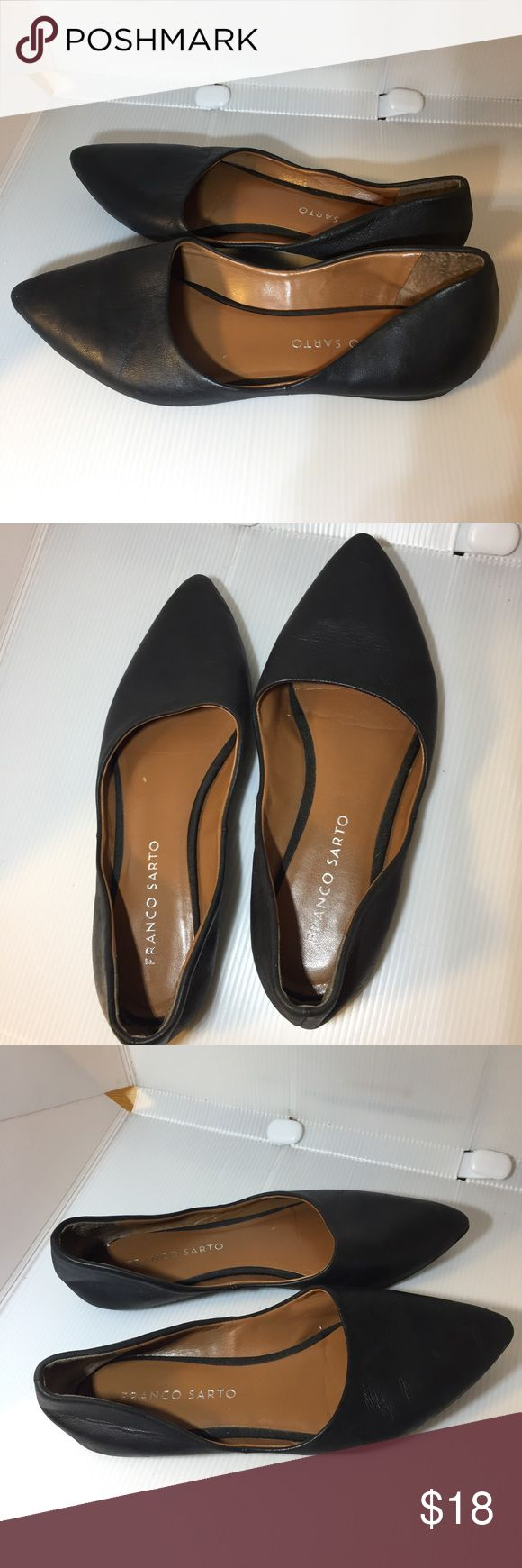 Franco Sarto L-Heath Black Leather Flats Size US 5. Preowned with some wear. See pictures. Franco Sarto Shoes Flats & Loafers