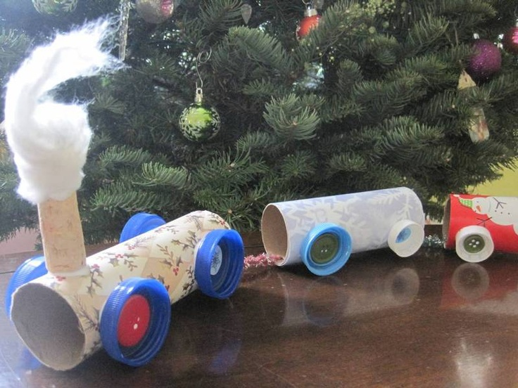 Toy train with toilet paper rolls.  Nick would love this.