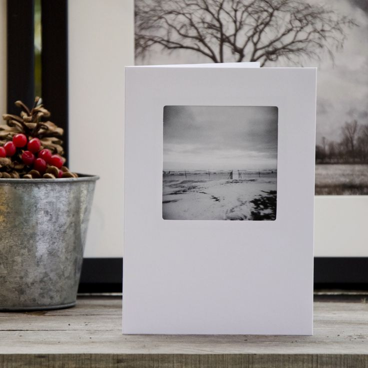 Holiday Greeting Card, 5x7, landscape, christmas card, black and white landscape, cards, blank, winter card, winter, snow photo, by HolgaJen on Etsy
