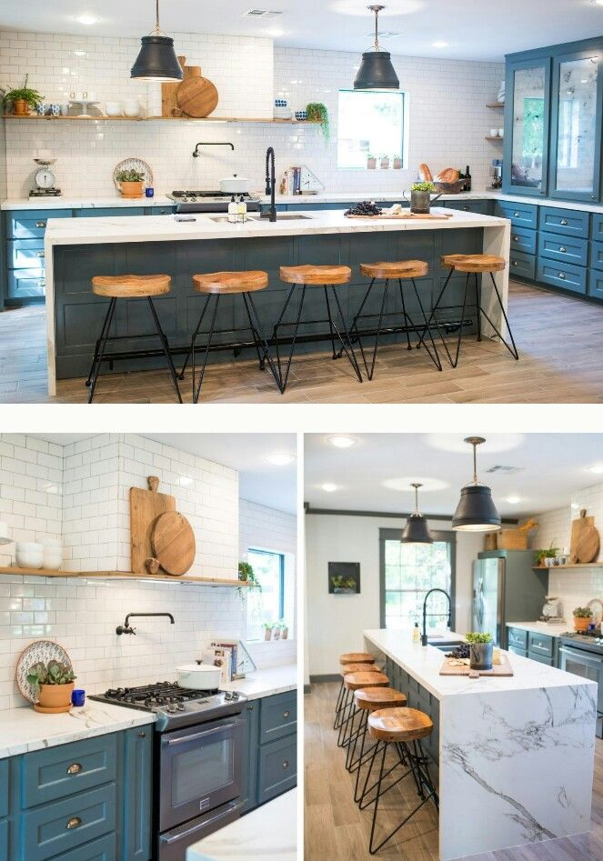 fixer upper season 3 the school house waterfall island tiled wall hood kickin 39 kitchens. Black Bedroom Furniture Sets. Home Design Ideas