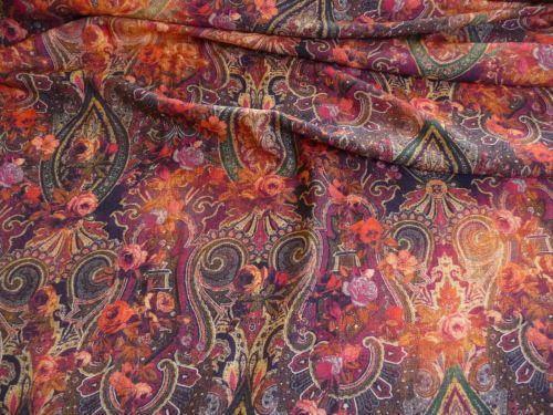 Viskose-Stoffe-Meterware-Stoff-Ornamente-Blumen-orientalisch-Herbsttoene