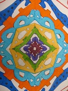 Islamic Tile design, using student's name; teach radial symmetry.