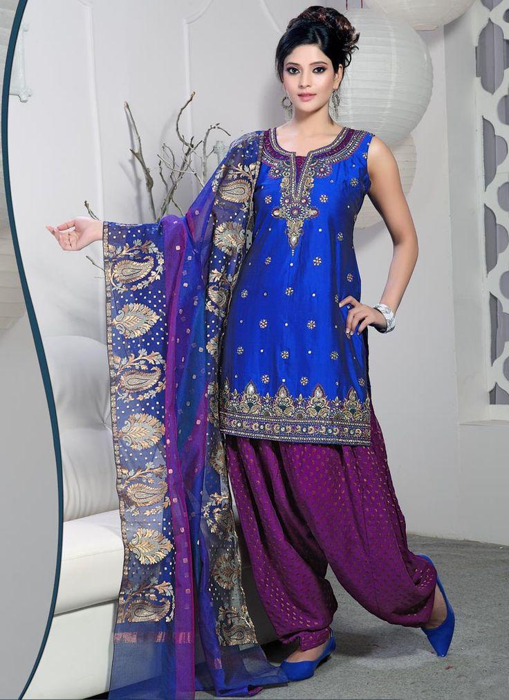 Blue Raw Silk Semi Patiala Suit : Cbazaar