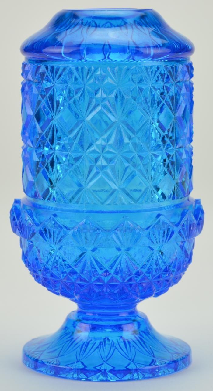 "Blue glassware | Blue Art Glass Fairy Lamp Tea Light Holder -Pressed Glass - 6"" Tall"