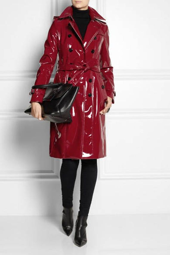 Pvc Vinyl Trench Coat Red Black Pink White Gold Blue Etc Xs S M L Xl Coat Trench Coat Red Leather Jacket