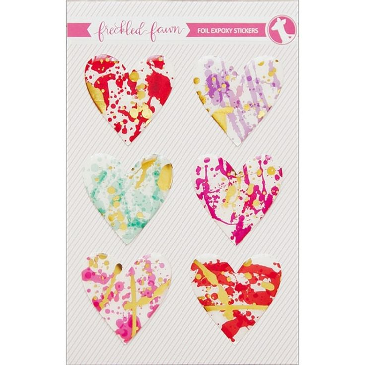 Freckled Fawn Epoxy Stickers-Foiled Hearts - foiled hearts