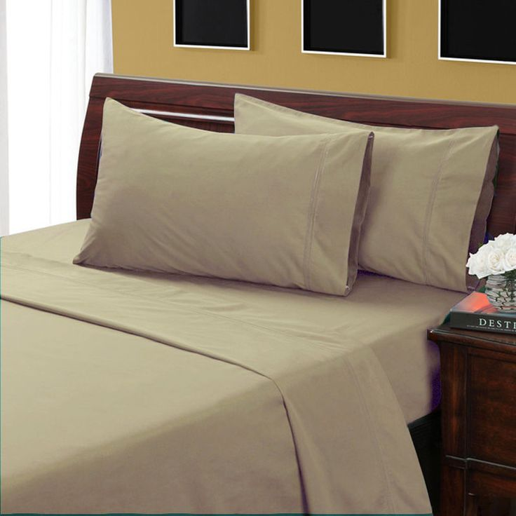 Olympic Queen Beige Solid 4 Piece Sheet Set 100% Egyptian Cotton #Scala