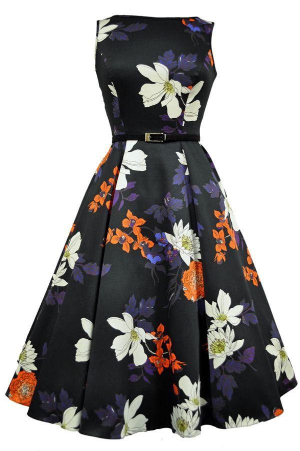 Japanese Floral on Black Hepburn Dress : Lady Vintage