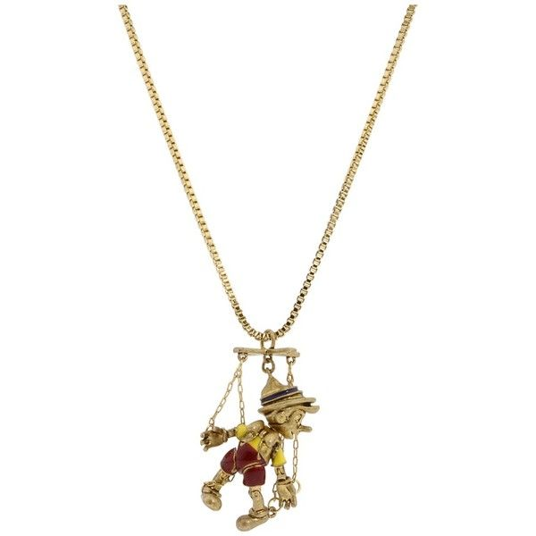 Disney Couture - Pinocchio Pendant (Brass) - Jewelry ($60) ❤ liked on Polyvore featuring jewelry, necklaces, accessories, disney, women's jewelry, 14k charms, disney couture jewelry, 14 karat gold jewelry, 14k pendant and charm jewelry