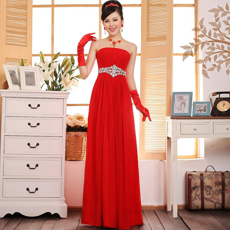2017 Long Chiffon Champagne Red Sequined Bridesmaid Dresses Under 50 Prom Party Dress