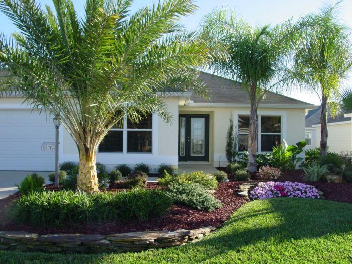 vorgarten ideen fr eine exotische gestaltung mit palmen blumen und grass - Vorgarten Ideen