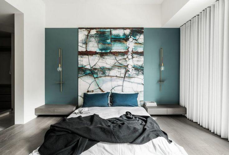 Chambre à coucher moderne touches de bleu vert modern bedroom