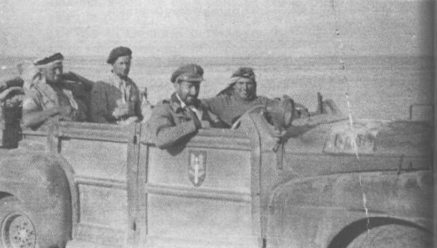 """David Stirling's """"Blitz Buggy"""", a Ford V-8 staff car that he had converted to look like an enemy staff car, for use on the raid on Benghazi."""