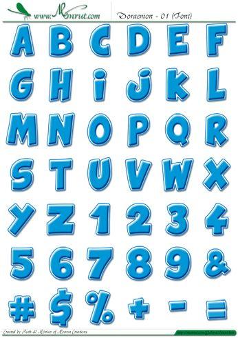 """Tipografía, abecedario o alfabeto """"Doraemon"""" completo, tipografía, gruesa y redondeada estilo cómic,  color azul celeste, con borde blanco perfilado con trazo azul y sombra suave. A elegir entre letras decoradas con motivos de Doraemon, cascabel, nariz, bigotesy ojos."""