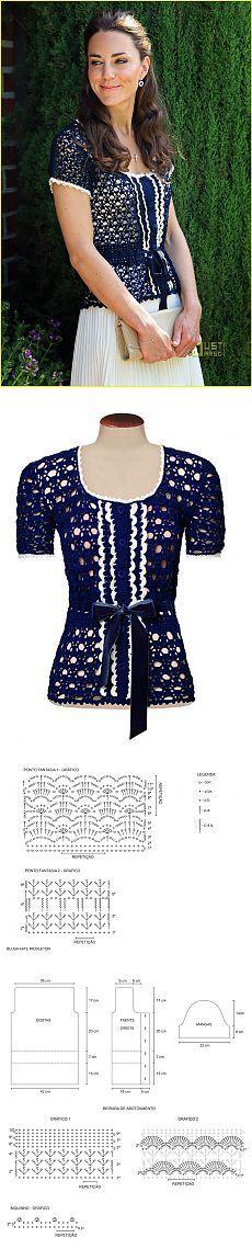 Блузка Кейт Миддлтон крючком с выкройкой и схемами.