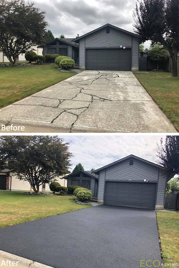 Rubber Driveway Resurfacing And A Classic Monochromatic Scheme Give This Home In Maple Ridge An Elegant And Concrete Patio Driveway Resurfacing Driveway Design