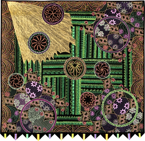 Best Threads For Machine Quilting: Bursting With Joy By Terry Knott. First Place, Best Use Of