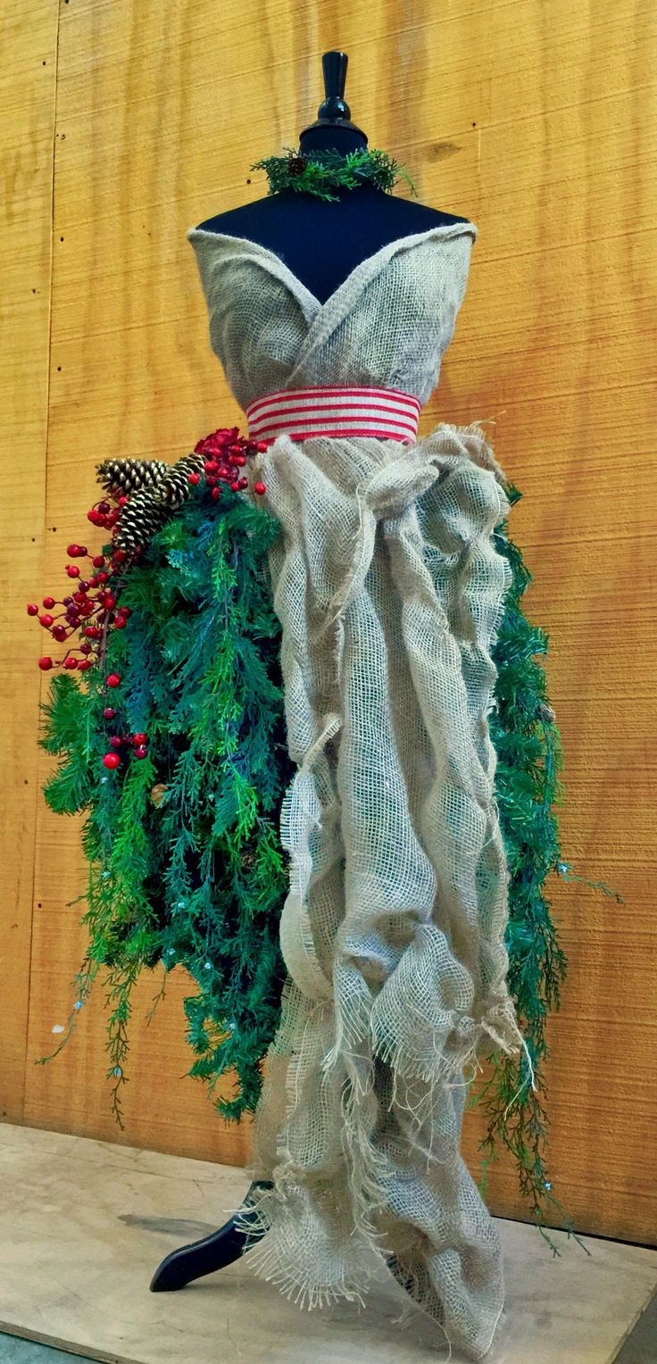 Dress Form Christmas Tree #4 - Burlap Bodice & Holly Berries with Faux Pine & Cedar Branches