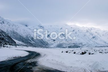 Snowy Roadscape, New Zealand Aoraki National Park Royalty Free Stock Photo