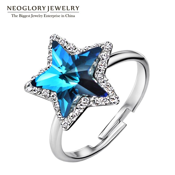 Adjustable Rhinestone Colorful Stars Vintage Wedding Engagement Rings For Women Romantic Gifts Jewelry