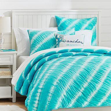 Elegant Tahiti Tie Dye Quilt + Sham, Capri // Great Summer Bedding! Reg.