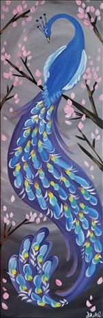 Unique Pristine Peacock painting with pink flowering tree.