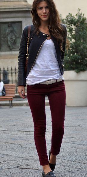 Wine colored pant. Leather jacket