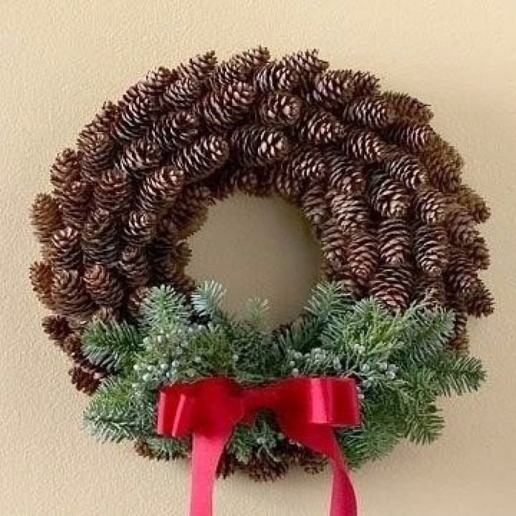 a Christmas wreath out of cones