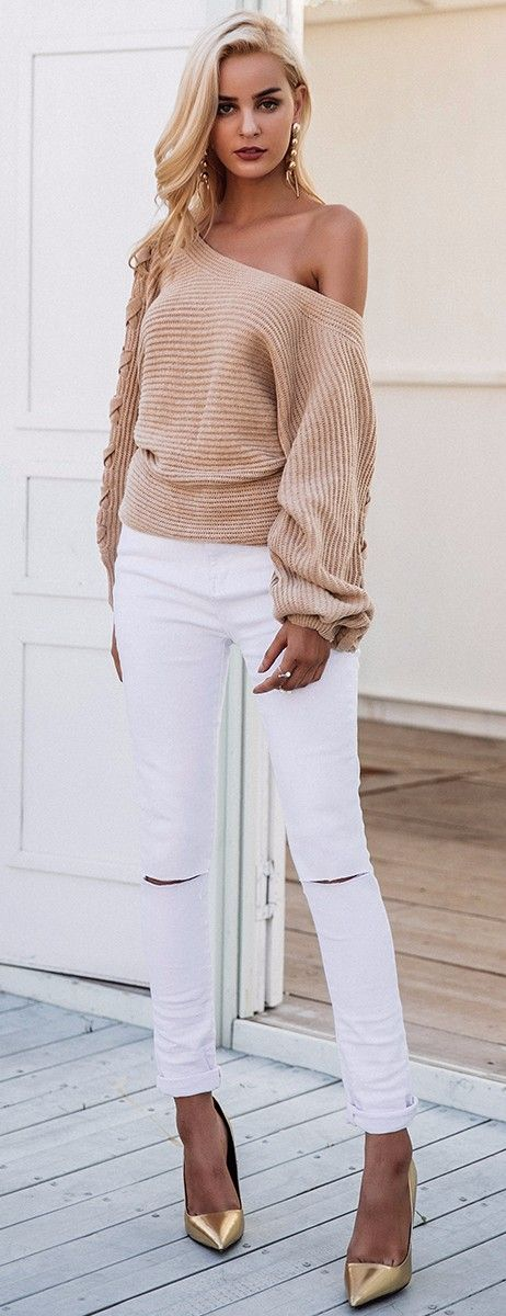 the cutest side lace up nude knits mixed with ripped jeans that you can get on Amazon #omgoutfitideas #fashionblogger #fashionista