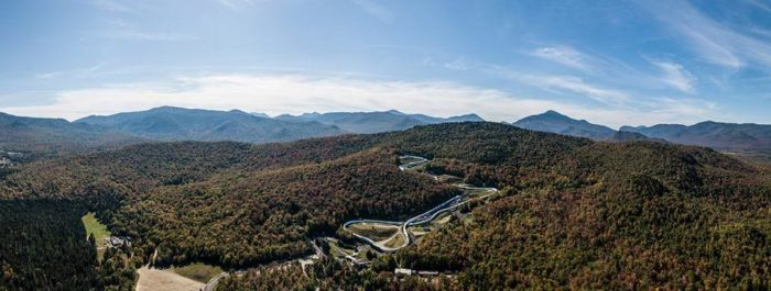 As seen from above, Lake Placid is home to the historic Olympic Sports Complex where athletes and Olympians from all around the world come to practice on this famous track.