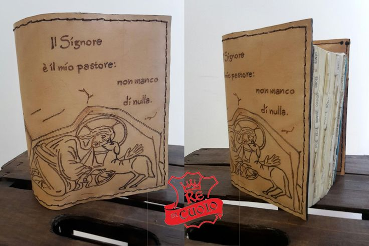 Copertina per Bibbia di Gerusalemme, in cuoio,cucita a mano e con incisioni a caldo. Handmade leather Bible cover with hot crafting