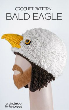 """BALD EAGLE HAT CROCHET PATTERN from the book """"Amigurumi Animal Hats Growing Up"""" by Linda Wright. 20 crocheted animal hat patterns for Ages 6-Adult. http://www.amazon.com/dp/1937564991/ Baldwin the Eagle Boston College mascot. Philadelphia Eagles Swoop mascot. USA patriotic July 4th eagle hat."""