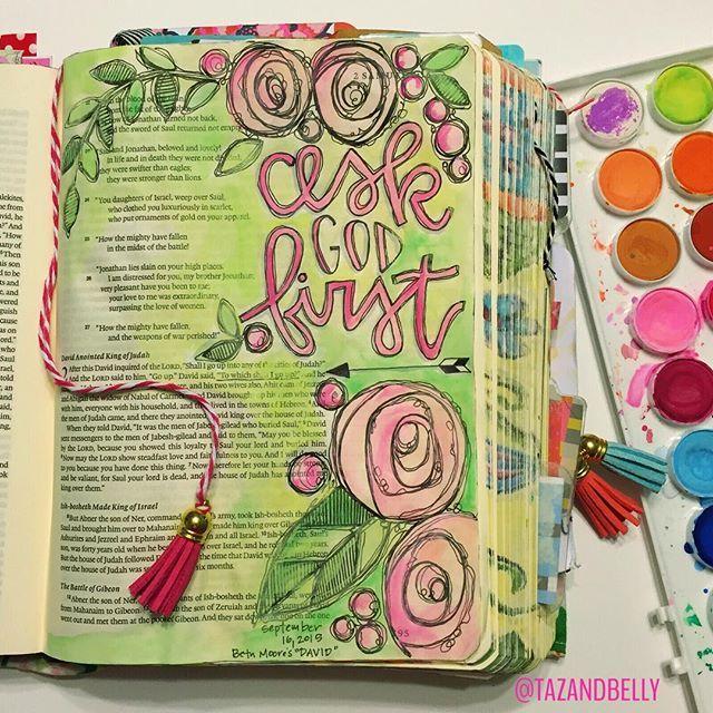 1 Samuel 14:36 draw near to God. Bible Journaling by Kristin Fields @tazandbelly | 2 Samuel