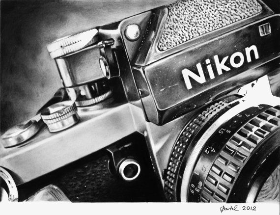 "Nikon F2 camera, Still Life drawing, 11"" x 8,5"" Print of original graphite drawing"