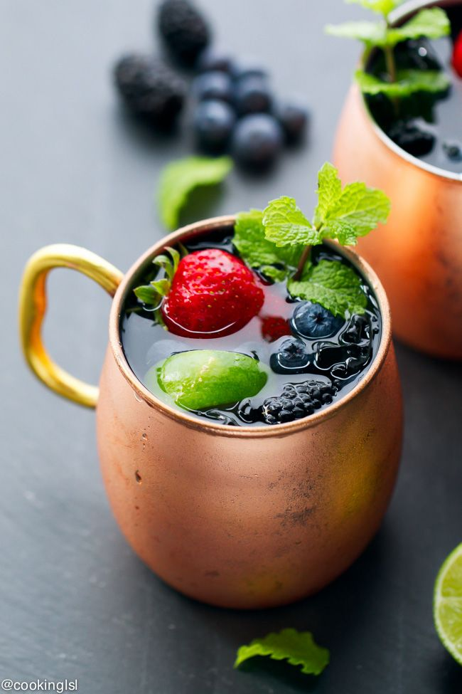Packed with strawberries, blueberries and raspberries, this berry Moscow Mule is a great twist on a classic cocktail.