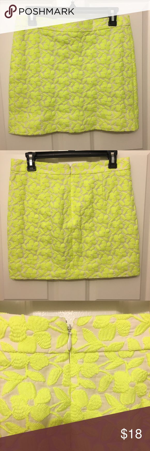 """J.Crew Neon Yellow Skirt J.Crew meon yellow embroidered mini skirt. Size 2 has a hidden zipper on the back, Fully lined. Waist 32"""" Length 16"""" in Very good condition no hold, no stains. J. Crew Skirts Mini"""