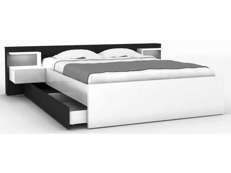 Lit 140x190 cm + 2 chevets + tiroir LANO coloris blanc et noir - Vente de Lit adulte - Conforama