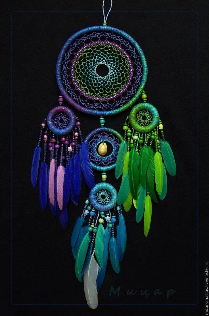 """Купить Ловец снов """"Танцующий Дракон"""" - комбинированный, зеленый, синий голубой, фиолетовый, ловец, ловцы"""