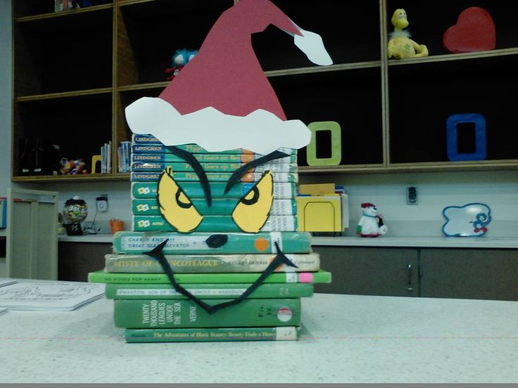 Grinch book face for my library!