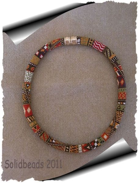 Necklace | SolidBeads Designs.  Crocheting with seedbeads