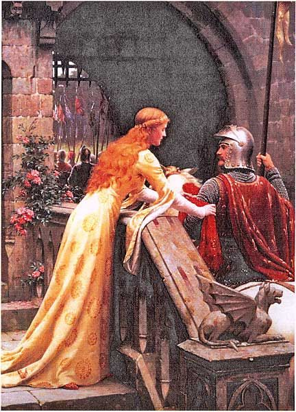 """Godspeed"" Cross Stitch Pattern - Another romantic medieval scene based on Frederic Leighton's art. Design is 300 stitches wide by 419 stitches tall."