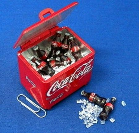 Miniature Cooler with Ice Cubes and Bottles of Coke