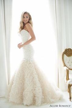 allure romance fall 2015 strapless lace ruffle organza wedding dress style 2859