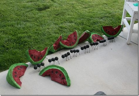 Watermelon slices cut from a log and ants made from golf balls ~ So Cute visit Jann @ http://jannolson.blogspot.com/2013/07/summer.html She has some darling things on her blog...