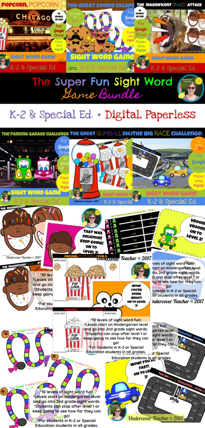 This is the digital, paperless version of The Super Fun Sight Word Game Bundle for Google Drive/Docs. Great for K-2 readers who use a tablet or Chrome book with access to Google Drive/Docs. Using this resource will require internet access for students or some of the games could be printed to use as a paper resource. Usable with any device that can access Google Docs/Drive. Makes a great station or assessment! All 6 games include: -A fun and interactive way to practice sight words!