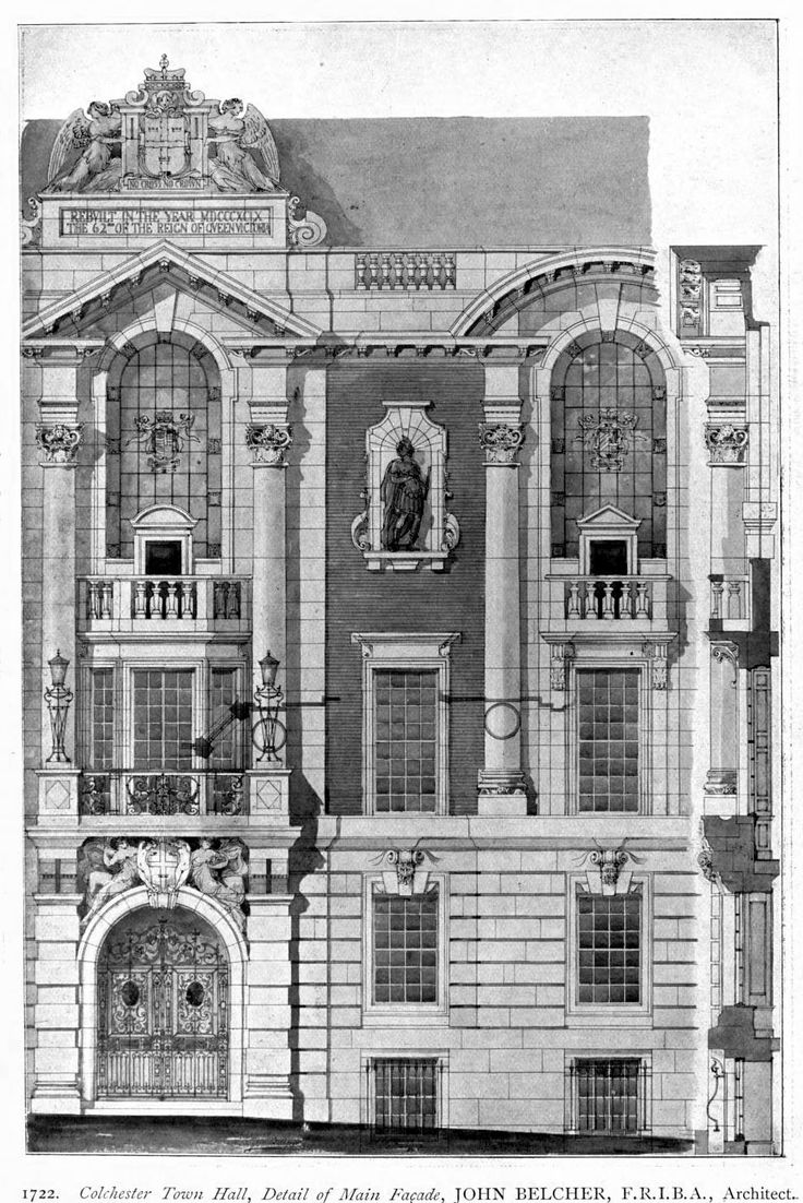 Construction details for the facade of the new town hall for Printing architectural drawings