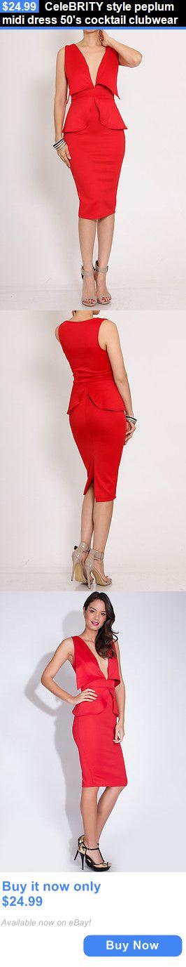 Celebrity Dresses: Celebrity Style Peplum Midi Dress 50S Cocktail Clubwear BUY IT NOW ONLY: $24.99