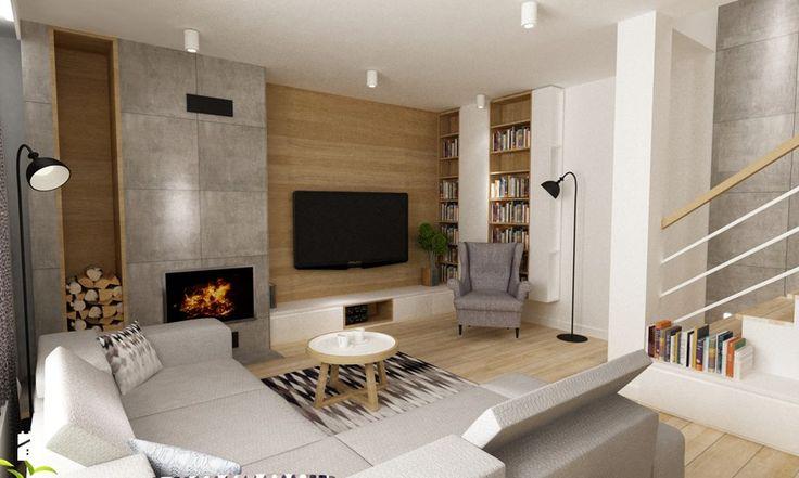 dom Białołęka 200m2 - Średni salon, styl nowoczesny - zdjęcie od Grafika i Projekt architektura wnętrz